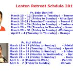 Lenten Retreat Schedule 2019